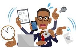 Busy Businessman, African American, Black Man royalty free illustration