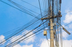 image of busy line on electric pole. Stock Photo