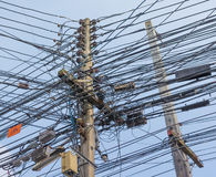 image of busy line on electric pole. Stock Images