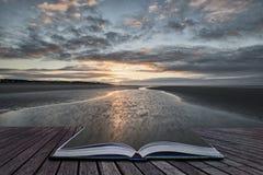 Image côtière de paysage de marée basse de belle plage au lever de soleil avec Images libres de droits