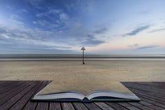 Image côtière de paysage de marée basse de belle plage au lever de soleil avec Photos libres de droits