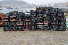 Cages for shellfish drying on shore. Image of cages for shellfish drying on shore Stock Image