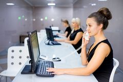 Image of a call center. A portrait of a call center operator Stock Image