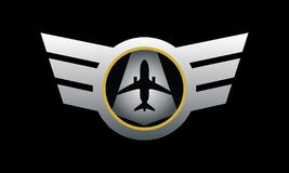 An emblem for pilot or airlines crew in metallic color. This image can be used as an emblem for crew of airways, air service, or airplane maintenance stock illustration