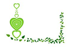 Chain of green multi-layered hearts and leaves border frame, isolated on white transparent background. Vector illustration, EPS1. The image can be used as icon royalty free illustration