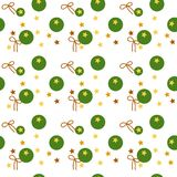 Colorful seamless pattern of golden stars, green balls, brown ribbons on transparent white background. Vector illustration, EPS. The image can be used as Royalty Free Stock Photo