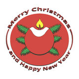 Image candle with fire on Christmas and New Year. On a white background Royalty Free Stock Photo