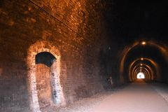 Railway tunnel on the Tissington trail. stock images