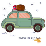 An image of a car in cartoon style. By car, go on a trip Stock Images