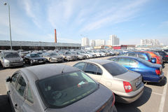 The image of a car parking in Moscow, Russia Royalty Free Stock Images
