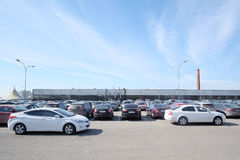 The image of a car parking in Moscow, Russia Royalty Free Stock Photography