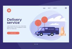 Image of car with unloaded goods. Provision of services and logistics. Transport services for delivery of goods. Title for website. Homepage. Vector royalty free illustration
