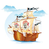 Image caravel ship pirates. XV century stock illustration