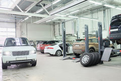 image of a Cars in a car-repair center in Moscow Royalty Free Stock Images