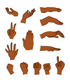 Image of cartoon black man, negro human hand gesture set. Vector illustration isolated on white background. Image of cartoon black man, negro human hand gesture Royalty Free Stock Photos