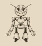 Image of a cartoon fun metal robot with antennas. Vector illustration stock illustration