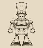 Image of cartoon fun metal robot with mustache in Royalty Free Stock Image