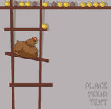 Image of cartoon hen with chicken on ladder Royalty Free Stock Photography