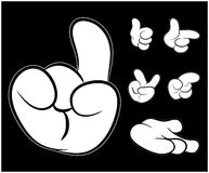 Image of cartoon human hand gesture set. Vector illustration  on black background. Image of cartoon human hand gesture set. Vector illustration  on black Stock Photos