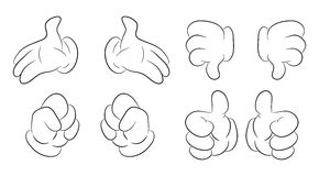 Image of cartoon human hand gesture set. Vector illustration isolated on white background. Stock Images