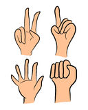 Image of cartoon human hand gesture set. Vector illustration isolated on white background. Stock Image