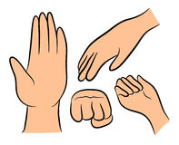 Image of cartoon human hand gesture set. Vector illustration isolated on white background. Image of cartoon human hand gesture set. Vector illustration isolated Stock Photos
