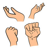 Image of cartoon human hand gesture set. Vector illustration  on white background. Royalty Free Stock Photos