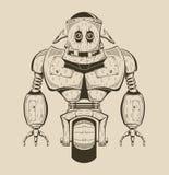It is an image of cartoon iron robot. Vector monochrome illustration stock illustration