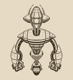 Image of a cartoon metal robot with antennas on Stock Images
