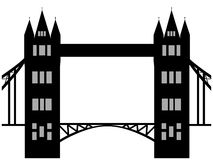 Image of cartoon Tower bridge silhouette. Vector illustration  on white background. Royalty Free Stock Image