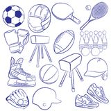 Sporting icons set. Image is a cartoon vector illustration of sporting icons set. Filled with various different popular sporting equipments Royalty Free Stock Image