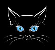 Image of cat eyes. In darkness for a design stock illustration