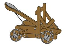 Image of catapult weapon. Cartoon image of catapult weapon Royalty Free Stock Photo