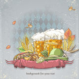 Image of a celebratory background oktoubest the steins of beer, hops, cones and autumn leaves.  Royalty Free Stock Photo
