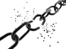 Image of a chain with a broken link. Stock Photography