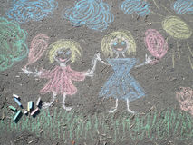Image chalk on asphalt Royalty Free Stock Photos