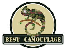 Image of a chameleon in camouflage colors. Vector illustration. Royalty Free Stock Photo