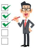 Checklist businessman smiling glasses royalty free illustration