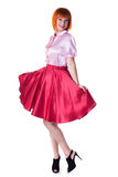Image of cheerful woman posing in blouse and skirt Royalty Free Stock Photos
