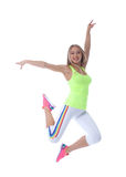 Image of cheerful young blonde posing in jump Royalty Free Stock Photos