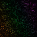 Image of chemical technology abstract background. Science wallpaper with school chemistry formulas and structures. Royalty Free Stock Photography
