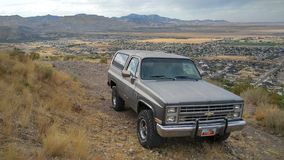 Chevy Blazer. Image of a Chevrolet Blazer parked atop a mountain royalty free stock photography