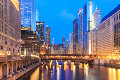 Image of Chicago downtown and Chicago River with bridges during Stock Image