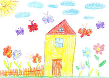 The image of the Child drawing of a house Royalty Free Stock Image
