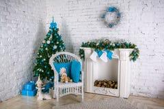 Image of chimney and decorated xmas tree Royalty Free Stock Photos