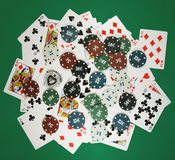 Image of chips and cards for playing poker close-up Royalty Free Stock Image