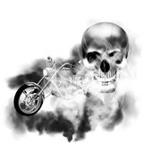 Image chopper motorbike with skull in smoke. Motobike chopper in black and white smoke from the skull Royalty Free Stock Images