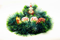 image Christmas decoration. shiny toy. on a green garla Royalty Free Stock Photography