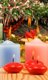 Image of Christmas decorations and candles close-up Royalty Free Stock Photo
