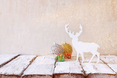 image of christmas decorations and white raindeer Royalty Free Stock Photos